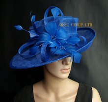 Cobalt Royal blue Sinamay Hat formal dress hat with feathers flower for kentucky derby.wedding church.party