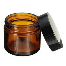 1pcs 60ml Amber Glass Jar Pot Skin Care Cream Refillable Bottle Cosmetic Container Makeup Tool With Black Lid For Travel Packing