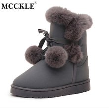MCCKLE Female Flats Hair Ball Fluffy Ankle Boots Furry Warmer Plush Platform Winter Snow Boots 2017 Women's Fashion Black Shoes