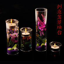 O.RoseLif  DIY  Potted Candlestick Glass Candlestick  Dinner Candle Holders Vases Wedding Decoration (only glass)