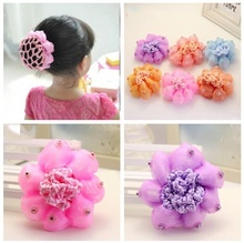 2017 New Sweet Baby Girl Dancing Updo Hair Net Snood Children New Hair Decoration Top Sell Dance ballet hair ornaments(China)