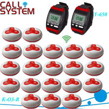 1 Set Wireless Call Calling System Waiter Server Paging Service System 2 Watch Receiver + 20 Calling Buttons, DHL/EMS(China)