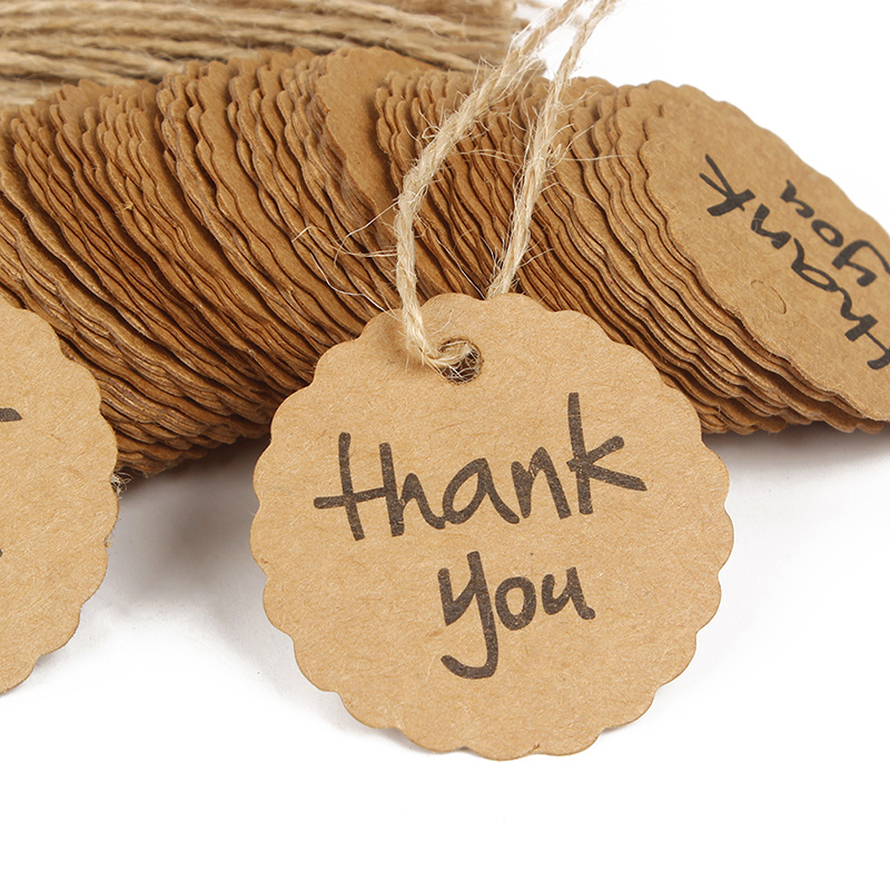 Paper Thank You Tag 4cm [ 100 Piece Lot ] 1