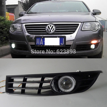2x LED Daytime Running Lights DRL Projector Lens Fog lights + Angel Eyes Kit For Volkswagen VW Passat B6 2007-2011