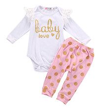 USA Shipping 2017 Infant Brand Clothing Newborn Baby Girls Clothes Tops Playsuit Romper+Pants Legging Outfit Set(China)