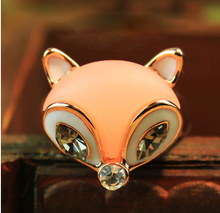 ra297 Women's Fashion Street Crystal Sweet and Cute Little Fox Ring
