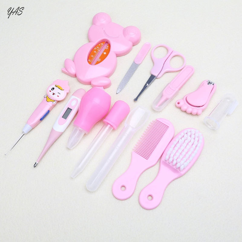 YAS 13pcs/Set Multifunction Newborn Baby Kids Nail Hair Health Care Thermometer Grooming Brush Kit Healthcare Accessories