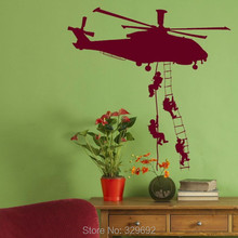 Free Shipping Helicopter Army Sticker Adhesive Vinly Wall Art For Boys Bedroom Huge Marines Wall Stickers Home Decoration tx-159