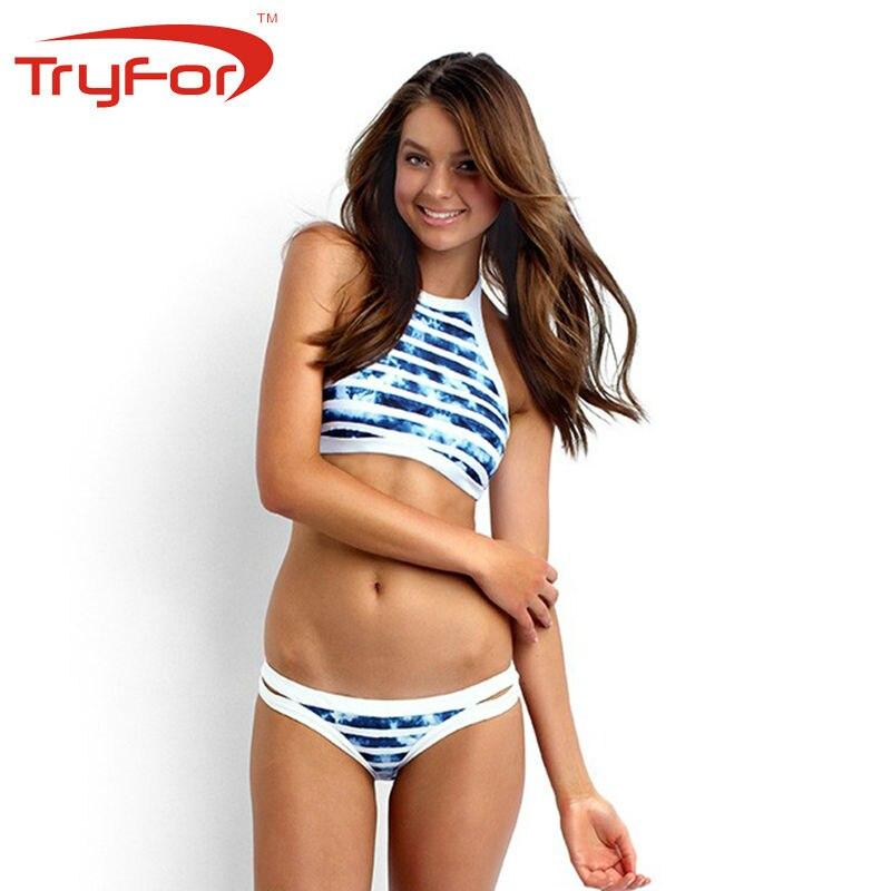 TryforLatest Swimming Women Bikini Set Low Waist Wired Printing Ladies Swimwear Female Polyester Bathing Set Sportswear122-A8757<br>