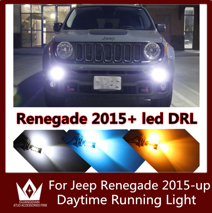 Guang Dian 2PCS car led light White blue red pink LED Drl Daytime Running Light Bulbs For Jeep Renegade 2015-up<br><br>Aliexpress