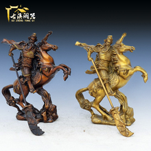 Antique bronze statue of Guan Gong copper ornaments light horse broadsword putting off the God of wealth & Fortune