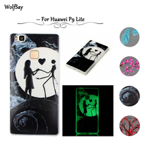 Wolfsay For Huawei P9 Lite Glow Case Slim Embossed Slim Soft Silicone Phone Cases TPU Night Light Cover For Huawei P9 Lite Case<