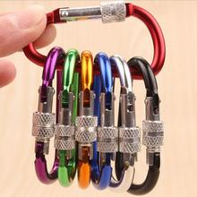 10pcs Outdoor multi colors Safety Buckle With Lock Aluminium Alloy Climbing Button Carabiner Camping Hiking Hook Keychain LW0692(China)