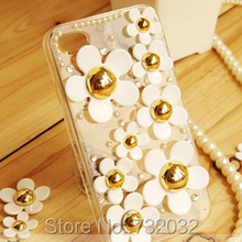 3D Bling Pearl Rhinestone Daisy Phone Cases for iPhone 5s SE 6 6S Plus 7 Plus Samsung S5 S6 S7 Edge Plus Note 3 4 5 Case Cover