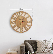PINJEAS Pastoral Creative Clock Wooden Contracted Fashion Wall Clock Nordic Wood Mute Clock Home Decorates Large Art Wall Clock