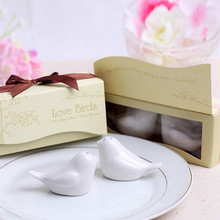Free Shipping 12Set Love Birds Ceramic Salt and Pepper Shaker Wedding Favors for Cheapest Wedding Gift For Guests(China)