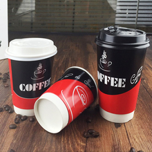 10pcs 500ml disposable paper cup with lid and straw, heat insulated coffee cup for shops, logo printing is available
