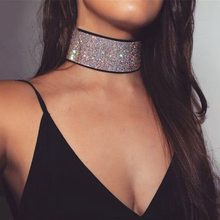 2017 New Arrivals Stylish Multi Color Acrylic Rhinestone Choker Necklace for Women Ladies Wide Chokers Collar Jewelry XR210