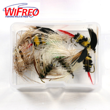 Wifreo 12PCS/Box Assorted Trout Fishing Flies Dries Caddis Gnat Bumble Bee Fly Fishing Material Set