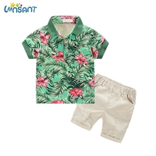 LONSANT Brands Newborn Baby Boy Clothes Gentalman Green Floral T Shirt Jeans Shorts Kids Clothes Clothing Set 1-7Y Dropshipping