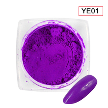 1pcs Neon Purple Colors Phosphor Powder Nail Art Glitter Gradient Fluorescent Pigment New Glimmer DIY Nail Decorations TRYE01