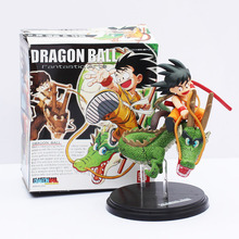 14cm Dragon Ball Z Son Goku Childhood Riding Shenron PVC Figure Toy Anime Collection Model Doll