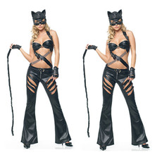 Mask Included Cat Costume Black Faux Leather Fetish Sexy Catsuit Uniform Club Wear For Women Adult Cosplay Halloween Clothes