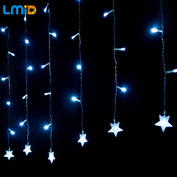 Holiday Lighting 2M*0.6M 60LEDs 220V Waterproof Star String Fairy Lights Garlands Christmas Decoration Outdoor LED Curtain Light