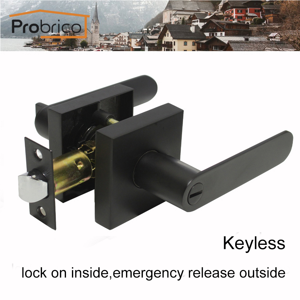 Probrico Black Keyless Stainless Steel Privacy Interior Door Lock Set Heaven Duty Door Handle Bedroom Square &amp; Oval Door Locks<br>