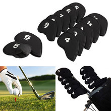 Hot Sale 10Pcs golf club head covers Iron Putter Protective Head Cover HeadCovers Set Neoprene Black Sports Golf Accessory