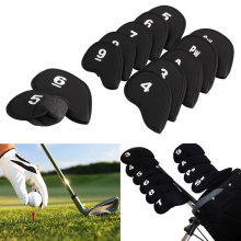 10Pcs Golf Club head Covers Iron Putter Protective Head Cover Putter Headcover Set Neoprene Black Sports Golf Accessory(China)