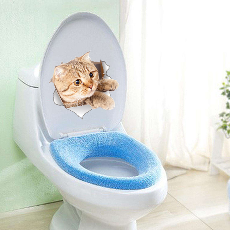 Cartoon animal 3d toilet stickers on the toilet seat cute cats PVC wall sticker bathroom refrigerator door decor stickers decals (4)