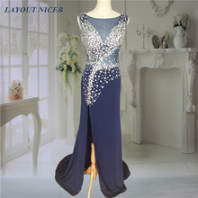 2015 vestido de formatura Navy Blue Sexy Split Beading Prom Dresses Rhinestone Floor Length Evening Party Gown(China)