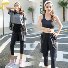 High Quality Fitness 4 Pieces Women Yoga Set Bra & Hot Shorts & Pants & Hollow Smock Gym Clothes Sport Wear Outdoor Jogging(China)