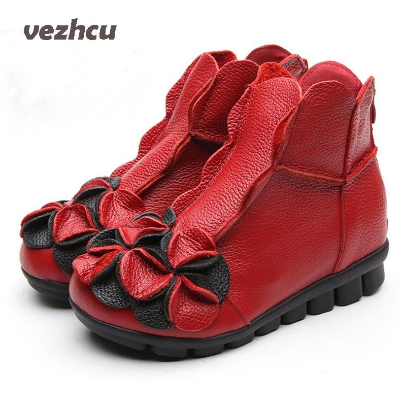 VZEHCU Women Flowers Flats Shoes Casual Women Genuine Leather Platform Shoes Breathable Round Toe Women Shoes With Zipper 8d65<br>