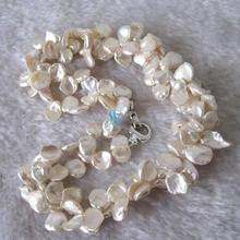 18 Inches 2 Rows 8-16mm White Color Freshwater Pearl Necklace Keshi Pearl Jewelry New Free Shipping