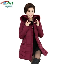 JQNZHNL Women Mid-aged Cotton Coat Outwear 2017 New Winter Thicken Warm Down Cotton Jacket Medium Long Padded Cotton Coats E211