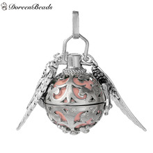 DoreenBeads Copper Wish Box Pendant Silver Tone Wing Carved With Sound Beads Ball Clear Rhinestone 40mm x 25mm, 1 PC