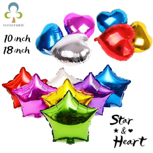 10pcs 10/18 inch Star & Heart Shaped Foil Balloons Helium Metalic Pure Color Balloons Wedding Birthday Party Decoration GYH(China)
