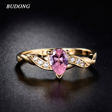 Buy BUDONG Finger Band Jewelry Gold-Color Rings Pink Cubic Zirconia Crystal Tear Drop Stone Rings Women 2017 XUR105 for $2.87 in AliExpress store