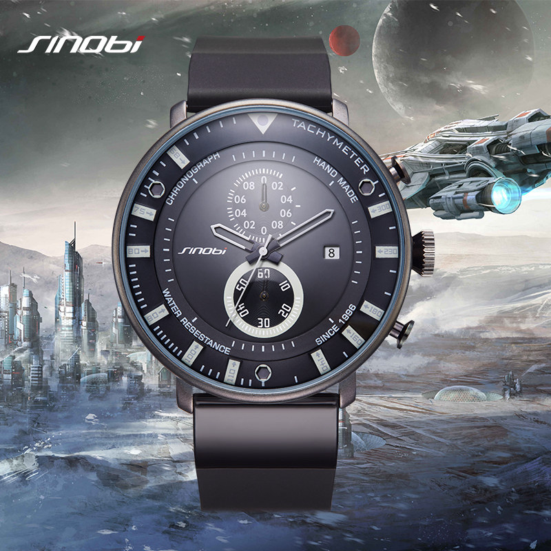 SINOBI Star Wars Ultra Thin Chronograph Mens Wrist Watches Rubber Watchband Brand Males Military Sports Geneva Quartz Clock 2017<br>