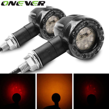 Onever 2pcs/lot 12V Motorcycle Turn Signal Light Brake Stop Lights Amber Red Indicator Lamp for Harley Chrome Scooter