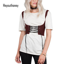 Heyouthoney 2017 new fashion 8 colors waistband for women tank shoulders corsets belt front lace up back zipper womens' belt