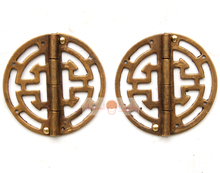 Free Shipping 2pcs Brass hinges for Jewelry Box Chinese Style Hardware Cabinet Trunk Suitcase Hinges Copper 45mm (1.77'')