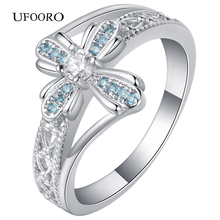 UFOORO Silver-color Sky blue& White Clear CZ Romantic Lace Clover engagement Ring Women Fashion Jewelry gift