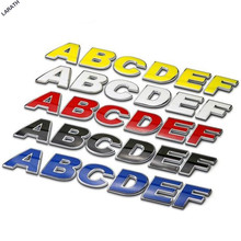 52 letters Chrome Metal 30mm Black Red Blue Yellow White Letters and Numbers Car Emblem Stickers Customize Home Decoration