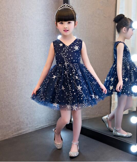 2017 Elegant V-neck Children Kids Baby Girls Dress Stars Sequins Tulle Bow Toddler Tutu One Piece Dress 3-14T<br>