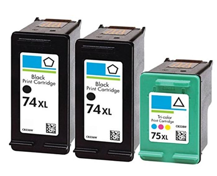 3Pk compatible for hp74 75 black ink cartridge CB335WN CB337WN for HP Photosmart C4200 C4280 C4345 C4380 C4385 C4480 printer<br><br>Aliexpress