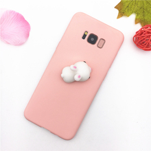 For Samsung Galaxy A3 A5 A7 J3 J5 J7 2016 2017 S8 Plus Case Silicone 3D Cute Chicken Rabbit Panda Soft Pink Squishy Phone Case