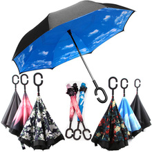 New Styles J C Hook Hook-Handle umbrella vented sunprotection Double Layer Parasol Manual On Auto-off Reverse Umbrella peacock